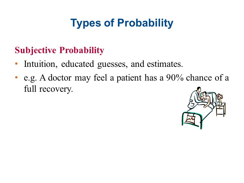 Types of Probability Subjective Probability Intuition, educated guesses, and estimates. e.g. A doctor may feel a patient has a 90% chance of a full re