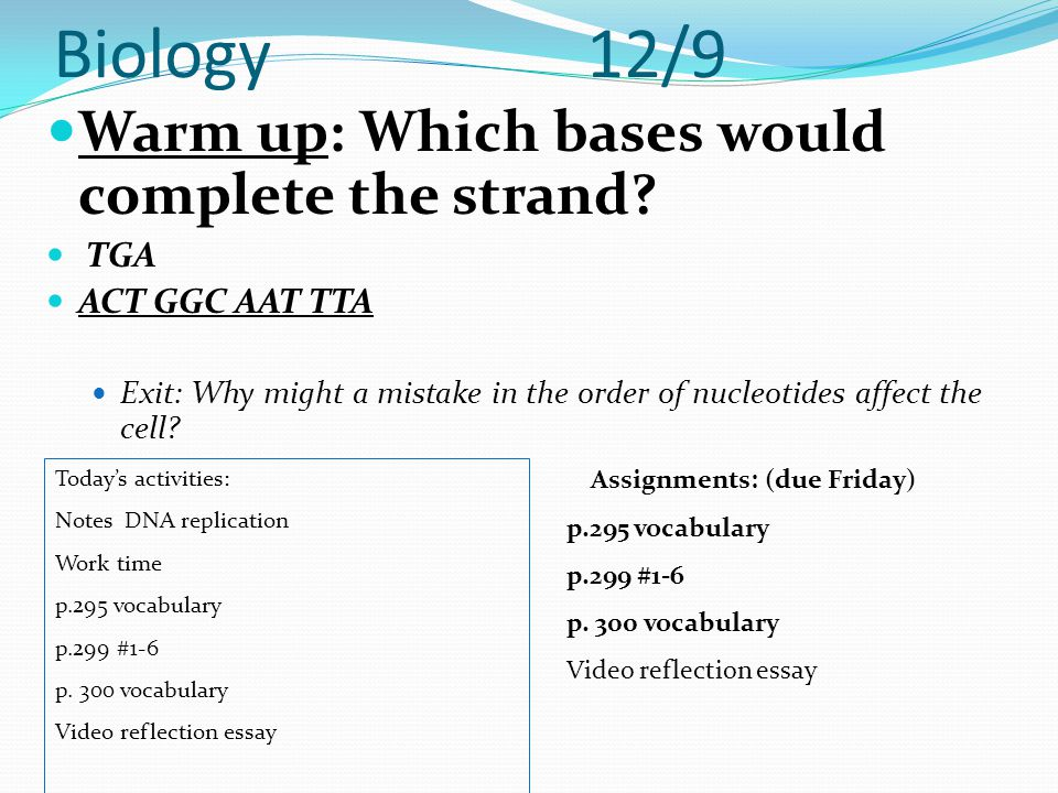 Biology 12/9 Warm up: Which bases would complete the strand? TGA ACT GGC AAT TTA Exit: Why might a mistake in the order of nucleotides affect the cell