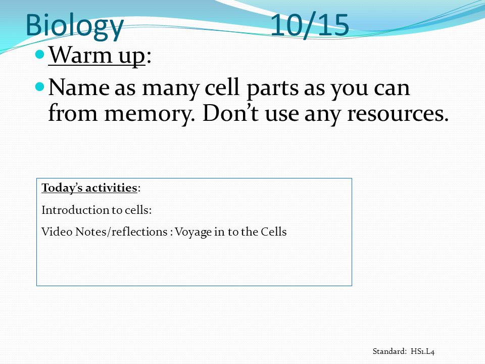 Biology 10/15 Warm up: Name as many cell parts as you can from memory. Don't use any resources. Today's activities: Introduction to cells: Video Notes