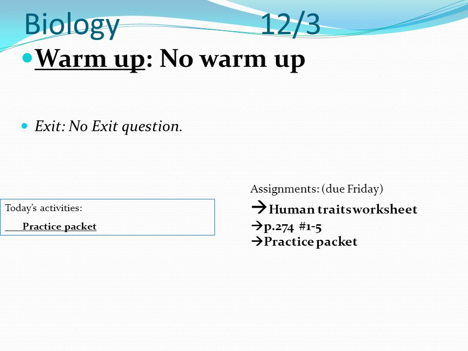 Biology 12/3 Warm up: No warm up Exit: No Exit question. Today's activities: Practice packet Assignments: (due Friday)  Human traits worksheet  p.27