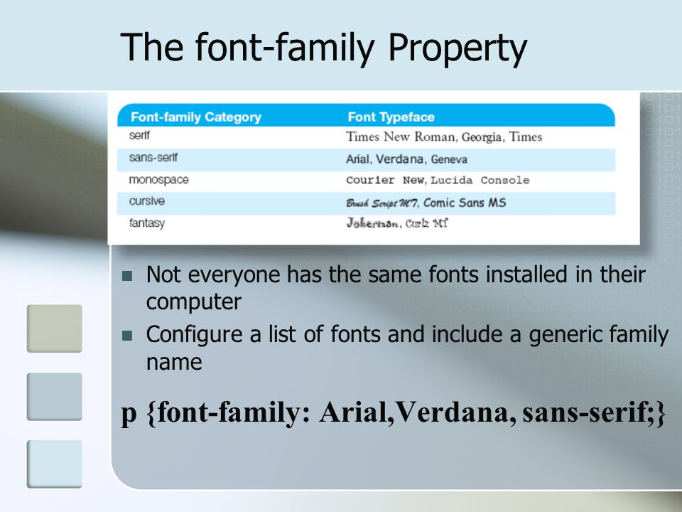 The font-family Property Not everyone has the same fonts installed in their computer Configure a list of fonts and include a generic family name p {fo