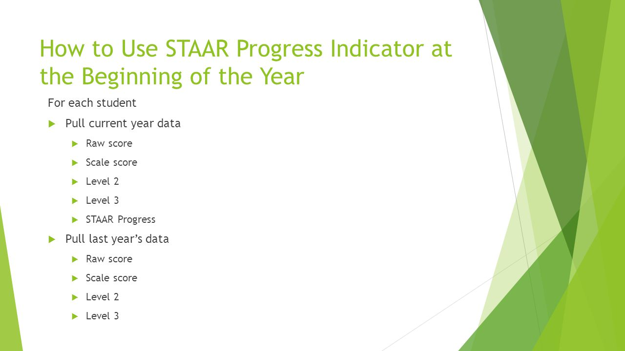 How to Use STAAR Progress Indicator at the Beginning of the Year For each student  Pull current year data  Raw score  Scale score  Level 2  Level 3  STAAR Progress  Pull last year's data  Raw score  Scale score  Level 2  Level 3