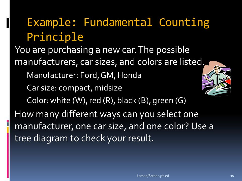 Example: Fundamental Counting Principle You are purchasing a new car.
