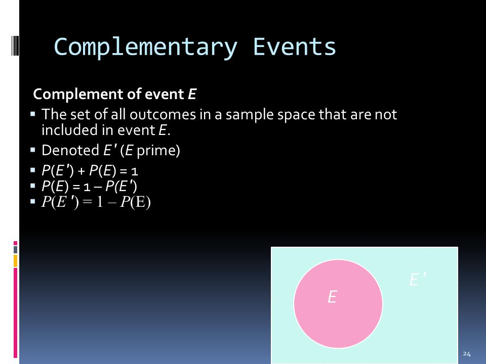 Complementary Events Complement of event E  The set of all outcomes in a sample space that are not included in event E.