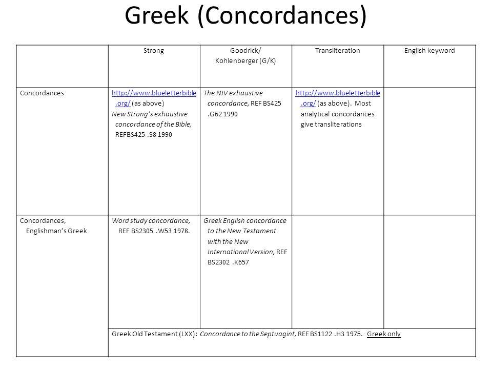 Greek (Concordances) Strong Goodrick/ Kohlenberger (G/K) TransliterationEnglish keyword Concordances http://www.blueletterbible.org/http://www.bluelet