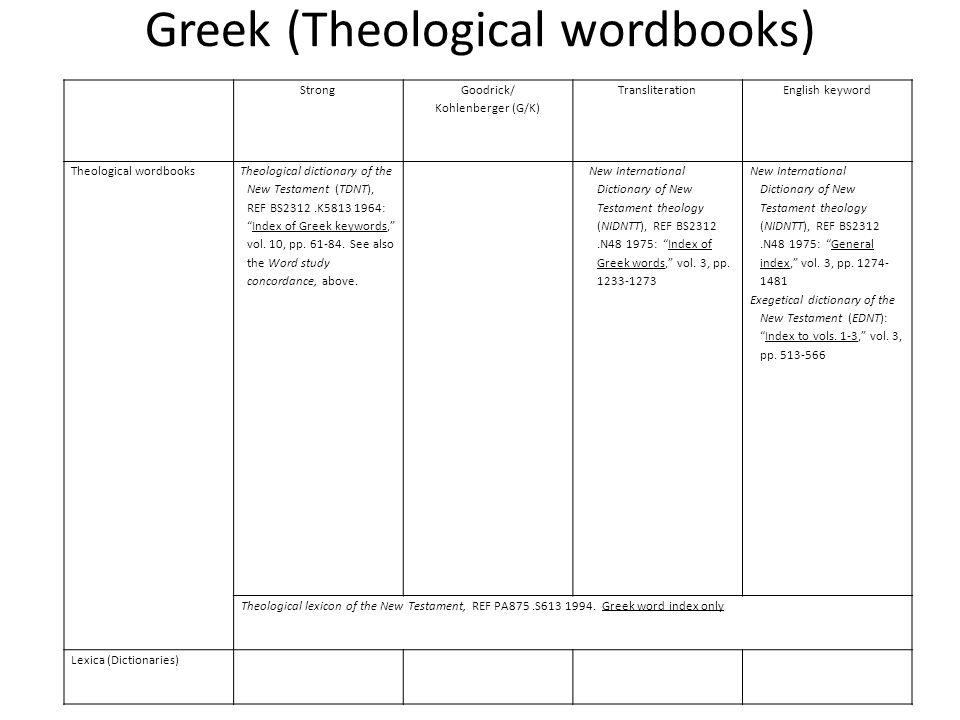 Greek (Theological wordbooks) Strong Goodrick/ Kohlenberger (G/K) TransliterationEnglish keyword Theological wordbooks Theological dictionary of the New Testament (TDNT), REF BS2312.K5813 1964: Index of Greek keywords, vol.