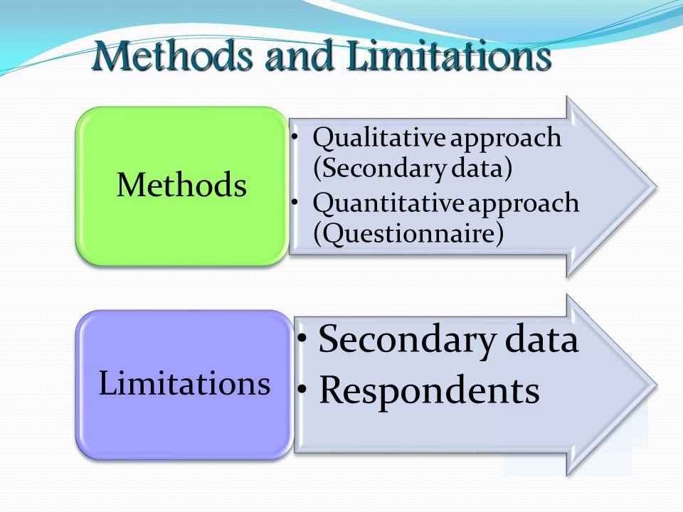Methods and Limitations Qualitative approach (Secondary data) Quantitative approach (Questionnaire) Methods Secondary data Respondents Limitations