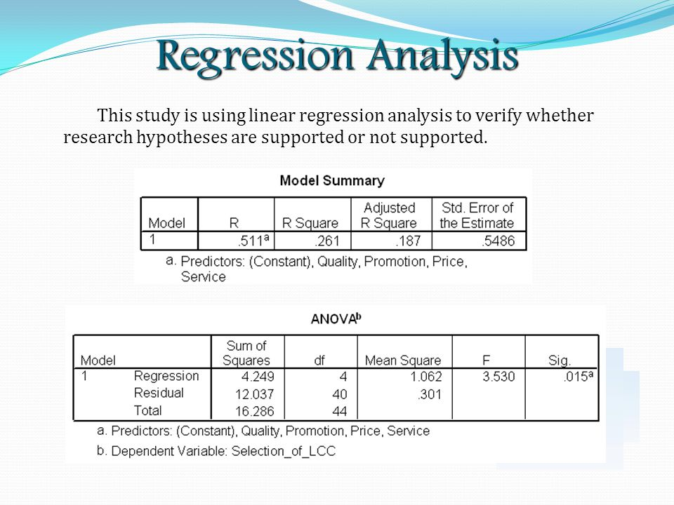 Regression Analysis This study is using linear regression analysis to verify whether research hypotheses are supported or not supported.