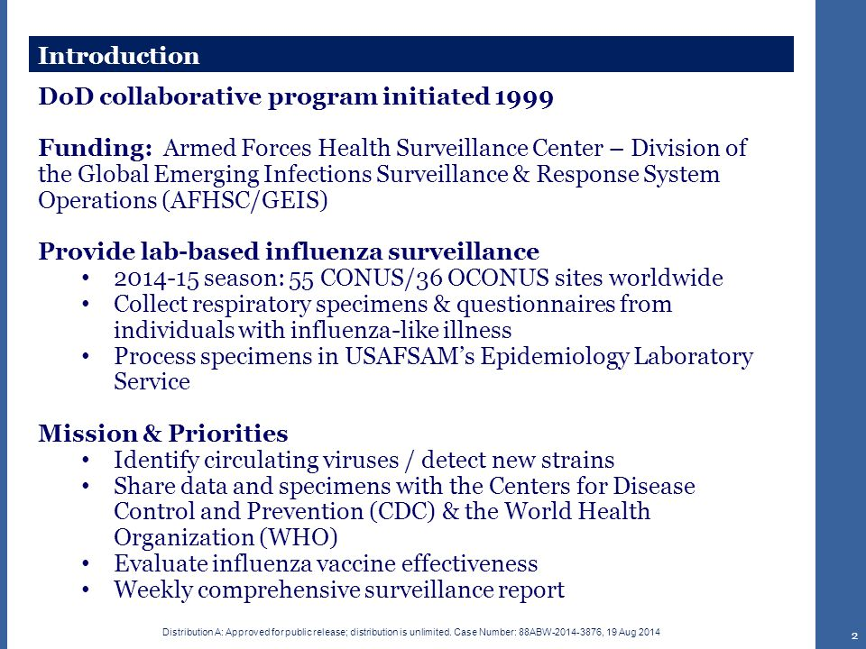 Contribution Reasons to participate: Constant changes to the influenza virus require ongoing collection and characterization of the strains Strains can undergo rapid changes, leading to pandemics of influenza; surveillance of viruses will detect these changes Updates to seasonal influenza vaccine based on surveillance findings National and international responses to emerging pandemic strains are triggered by surveillance data The DoD surveillance network helps fill surveillance gaps for parts of the world that civilian surveillance systems do not reach Offer surge / outbreak support RT-PCR results available in 48 hours after arrival at laboratory.