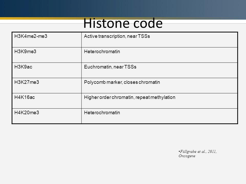 Histone code Füllgrabe et al., 2011, Oncogene H3K4me2-me3Active transcription, near TSSs H3K9me3Heterochromatin H3K9acEuchromatin, near TSSs H3K27me3Polycomb marker, closes chromatin H4K16acHigher order chromatin, repeat methylation H4K20me3Heterochromatin