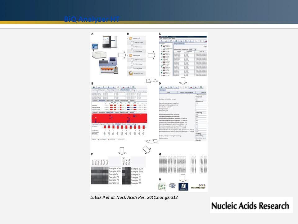 Lutsik P et al. Nucl. Acids Res. 2011;nar.gkr312 BiQ Analyzer HT