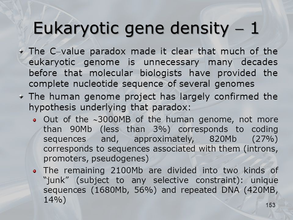 Eukaryotic gene density  1 153 The Cvalue paradox made  it clear that much of the eukaryotic genome is unnecessary many decades before that molecu