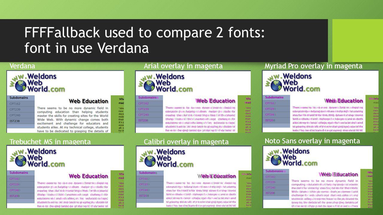 FFFFallback used to compare 2 fonts: font in use Verdana VerdanaArial overlay in magenta Trebuchet MS in magentaCalibri overlay in magenta Myriad Pro