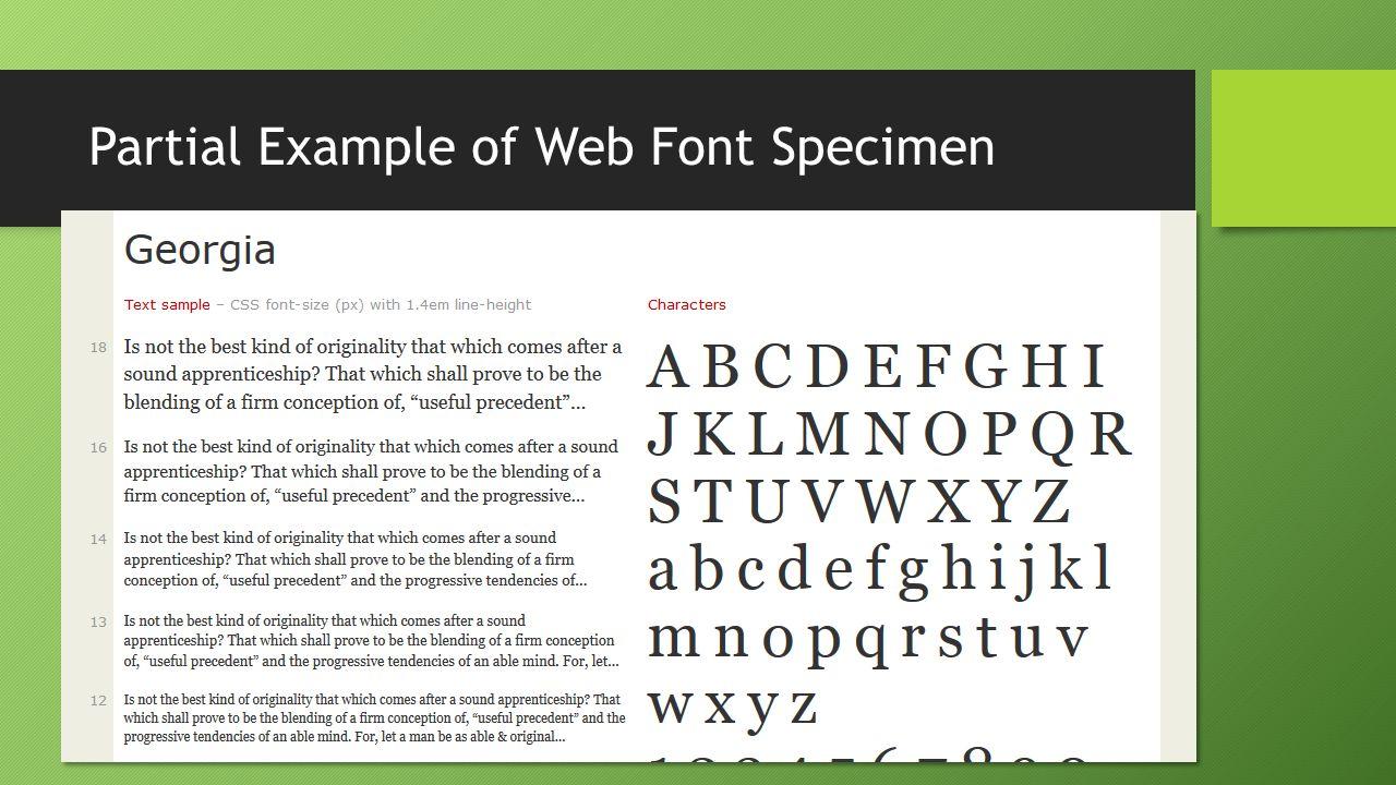 Partial Example of Web Font Specimen