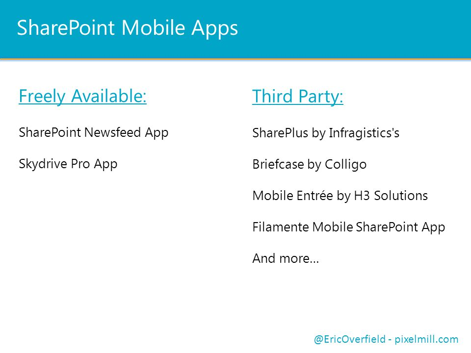 SharePoint Mobile Apps Freely Available: SharePoint Newsfeed App Skydrive Pro App @EricOverfield - pixelmill.com Third Party: SharePlus by Infragistics s Briefcase by Colligo Mobile Entrée by H3 Solutions Filamente Mobile SharePoint App And more…