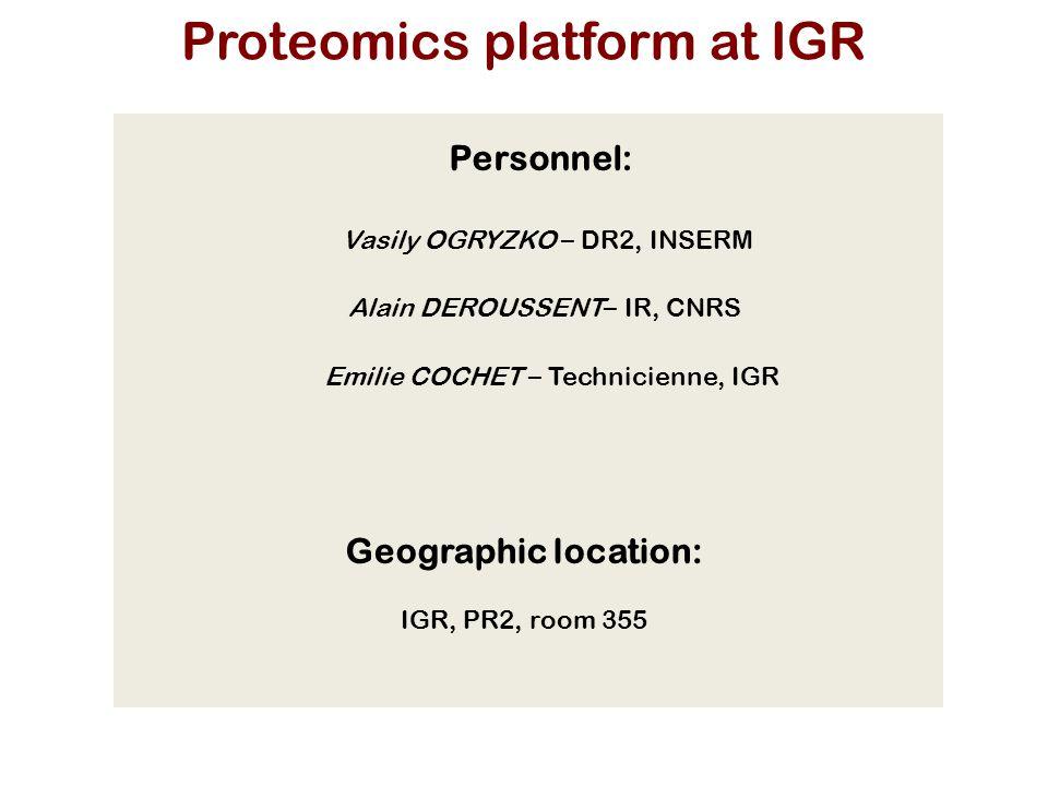 Vasily OGRYZKO – DR2, INSERM Emilie COCHET – Technicienne, IGR Alain DEROUSSENT – IR, CNRS Geographic location: IGR, PR2, room 355 Personnel: