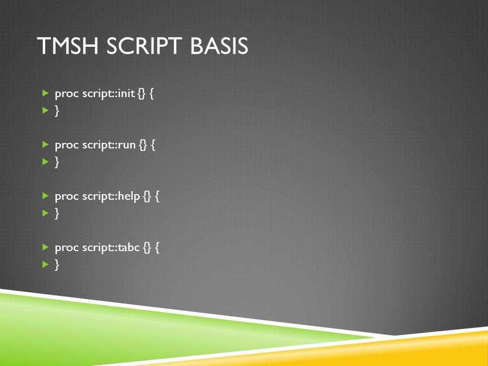 TMSH SCRIPT BASIS  proc script::init {} {  }  proc script::run {} {  }  proc script::help {} {  }  proc script::tabc {} {  }