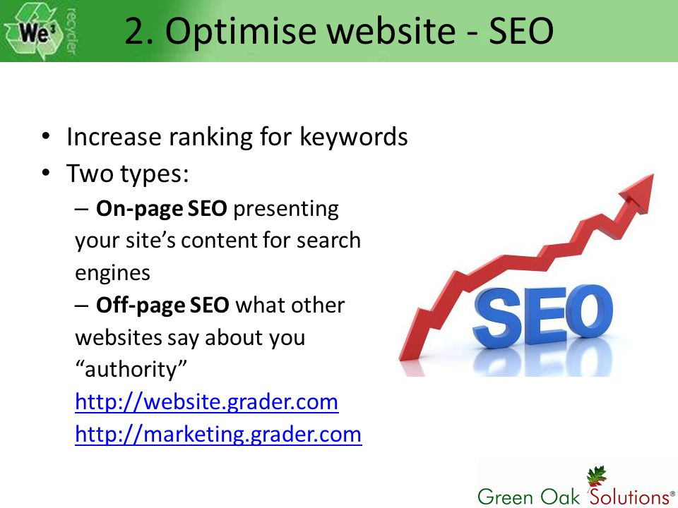 2. Optimise website - SEO Increase ranking for keywords Two types: – On-page SEO presenting your site's content for search engines – Off-page SEO what