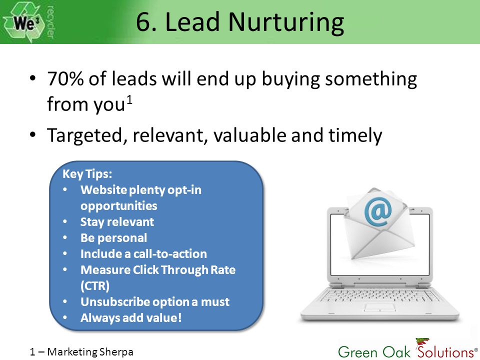 6. Lead Nurturing 70% of leads will end up buying something from you 1 Targeted, relevant, valuable and timely 1 – Marketing Sherpa Key Tips: Website