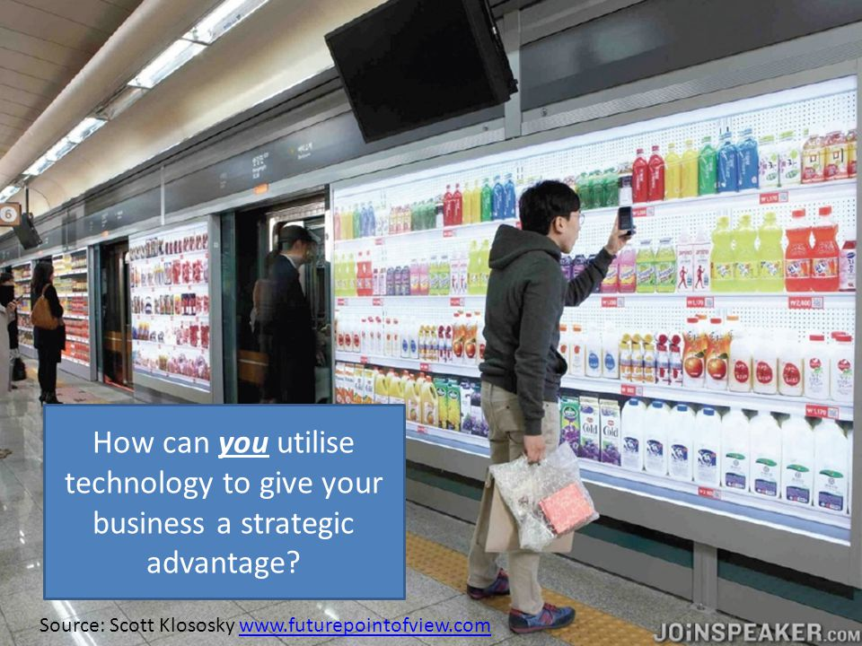 How can you utilise technology to give your business a strategic advantage? Source: Scott Klososky www.futurepointofview.comwww.futurepointofview.com