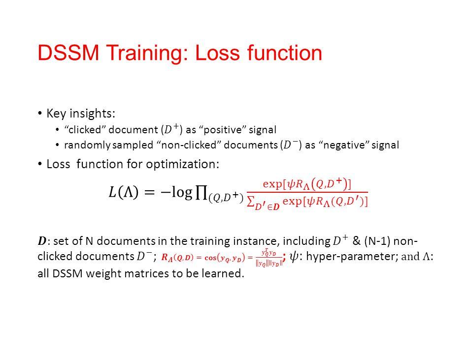 DSSM Training: Loss function