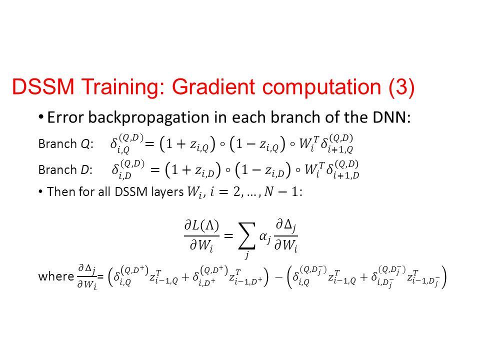 DSSM Training: Gradient computation (3)