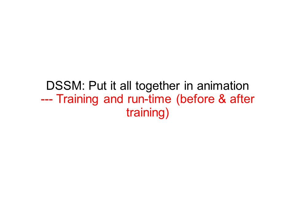 DSSM: Put it all together in animation --- Training and run-time (before & after training)