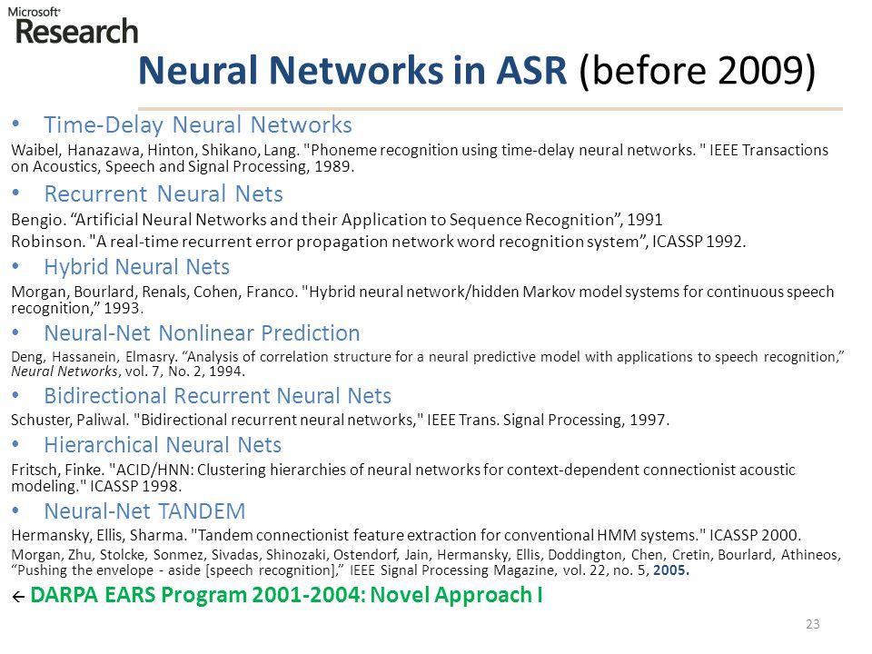 Neural Networks in ASR (before 2009) Time-Delay Neural Networks Waibel, Hanazawa, Hinton, Shikano, Lang.