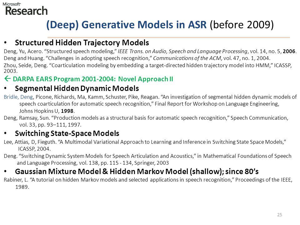 "(Deep) Generative Models in ASR (before 2009) Structured Hidden Trajectory Models Deng, Yu, Acero. ""Structured speech modeling,"" IEEE Trans. on Audio,"
