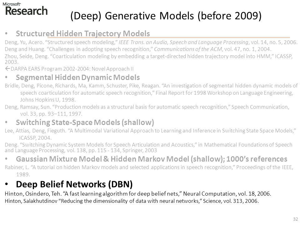 "(Deep) Generative Models (before 2009) Structured Hidden Trajectory Models Deng, Yu, Acero. ""Structured speech modeling,"" IEEE Trans. on Audio, Speech"
