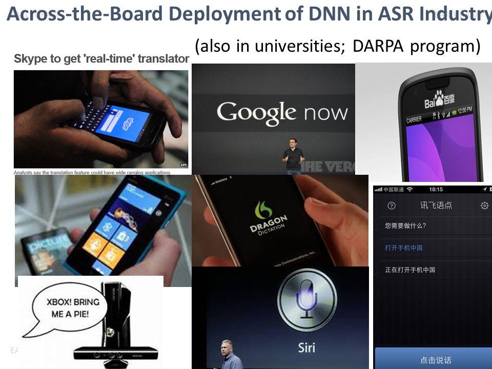 EARLY DRAFT Across-the-Board Deployment of DNN in ASR Industry (also in universities; DARPA program)