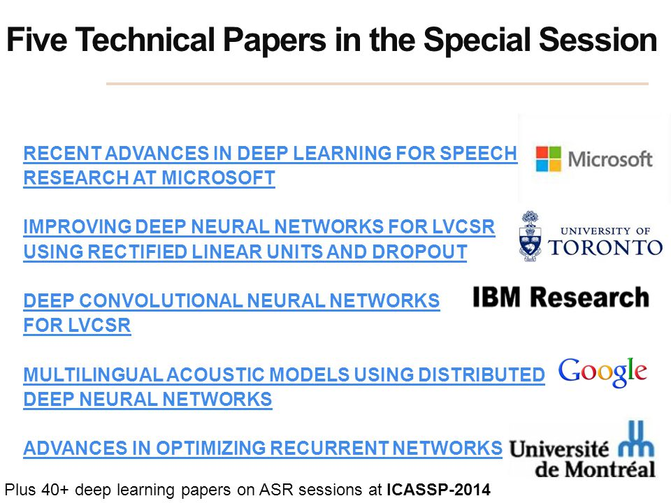 Five Technical Papers in the Special Session RECENT ADVANCES IN DEEP LEARNING FOR SPEECH RESEARCH AT MICROSOFT IMPROVING DEEP NEURAL NETWORKS FOR LVCS