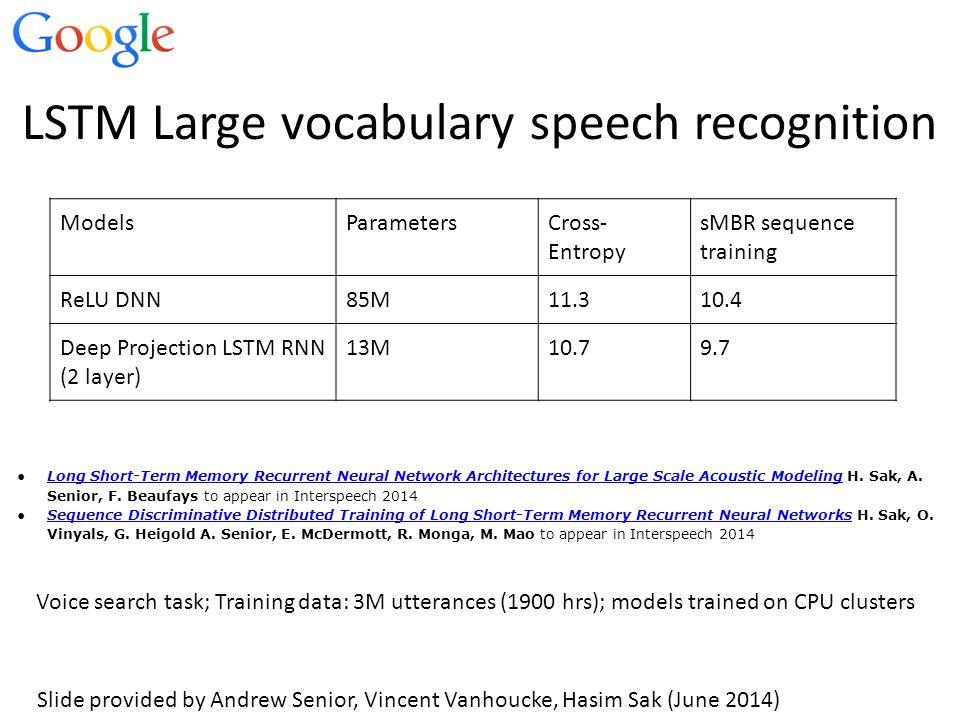 LSTM Large vocabulary speech recognition ModelsParametersCross- Entropy sMBR sequence training ReLU DNN85M11.310.4 Deep Projection LSTM RNN (2 layer)