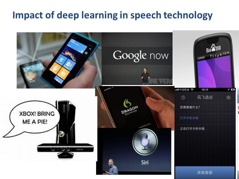 Impact of deep learning in speech technology