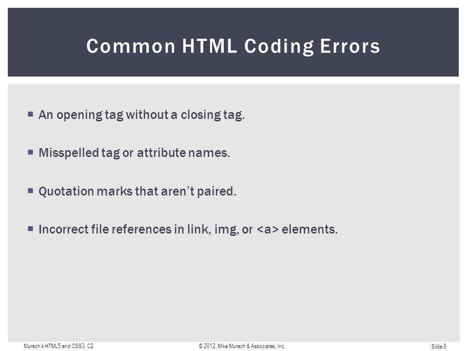 Slide 9 Murach s HTML5 and CSS3, C2© 2012, Mike Murach & Associates, Inc. A Simple HTML Document