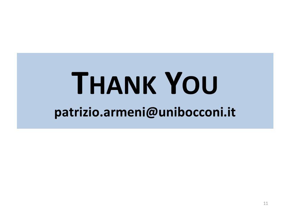 11 T HANK Y OU patrizio.armeni@unibocconi.it