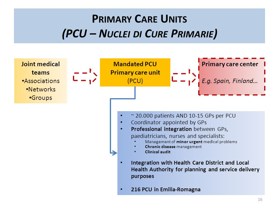 16 P RIMARY C ARE U NITS (PCU – N UCLEI DI C URE P RIMARIE ) Joint medical teams Associations Networks Groups Primary care center E.g.