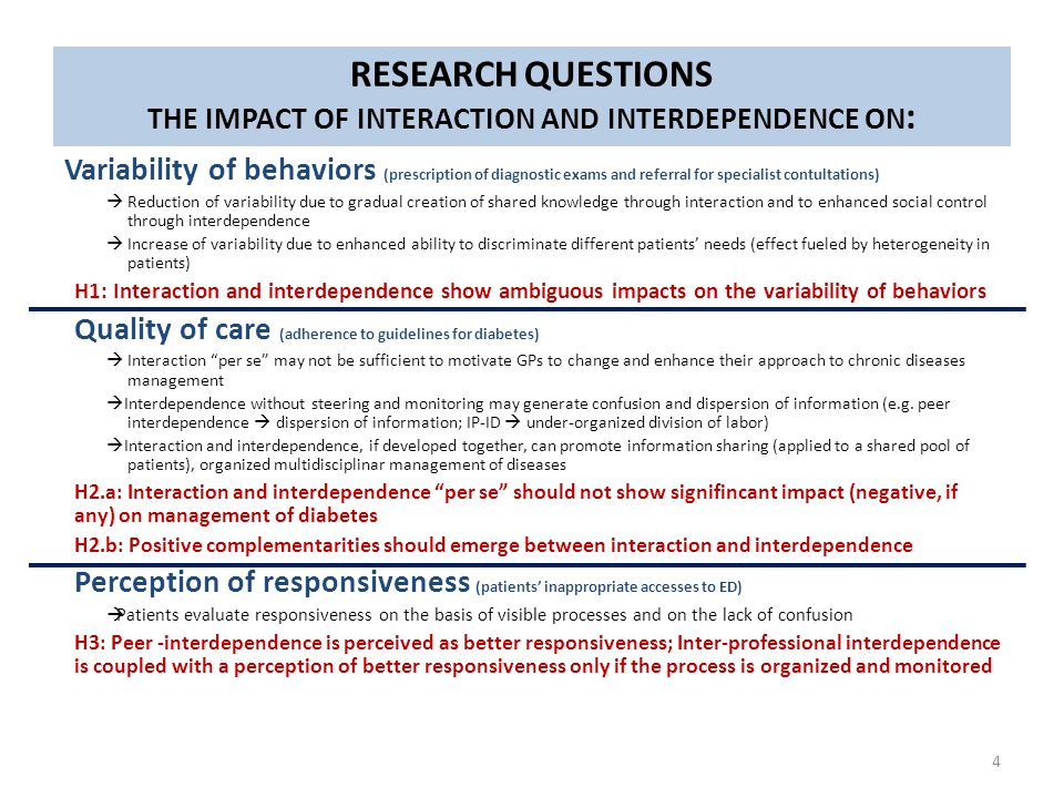 Research questions Variability of behaviors (prescription of diagnostic exams and referral for specialist contultations)  Reduction of variability du
