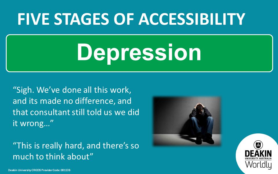 Deakin University CRICOS Provider Code: 00113B FIVE STAGES OF ACCESSIBILITY Depression Sigh.