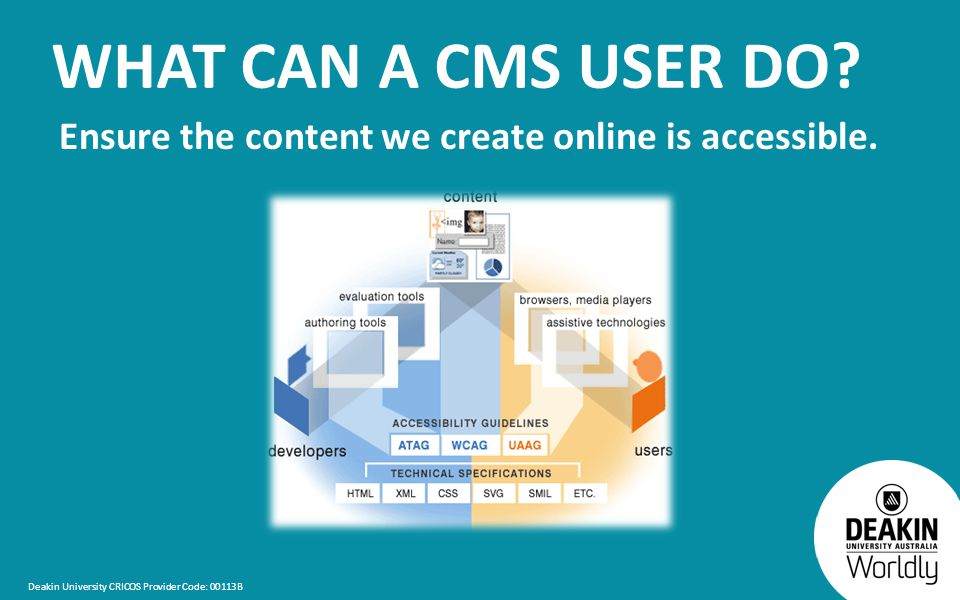Deakin University CRICOS Provider Code: 00113B WHAT CAN A CMS USER DO.