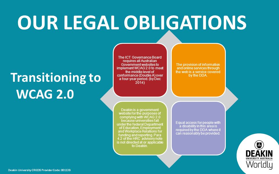 Deakin University CRICOS Provider Code: 00113B OUR LEGAL OBLIGATIONS Transitioning to WCAG 2.0 The ICT Governance Board requires all Australian Government websites to implement WCAG 2.0 to meet the middle level of conformance (Double A) over a four-year period.