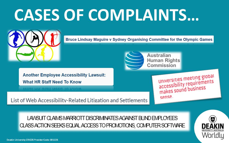 Deakin University CRICOS Provider Code: 00113B CASES OF COMPLAINTS…
