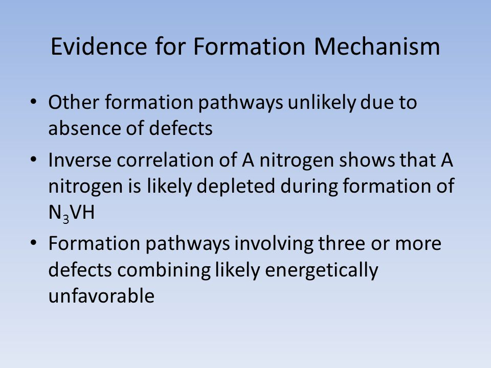 Evidence for Formation Mechanism Other formation pathways unlikely due to absence of defects Inverse correlation of A nitrogen shows that A nitrogen is likely depleted during formation of N 3 VH Formation pathways involving three or more defects combining likely energetically unfavorable