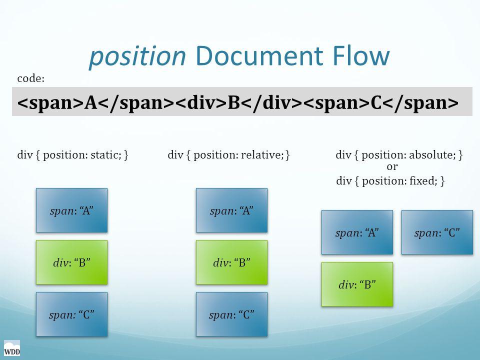 position Document Flow A B C code: div { position: static; }div { position: relative; }div { position: absolute; } span: A div: B span: C span: A div: B span: C span: A div: B span: C or div { position: fixed; }