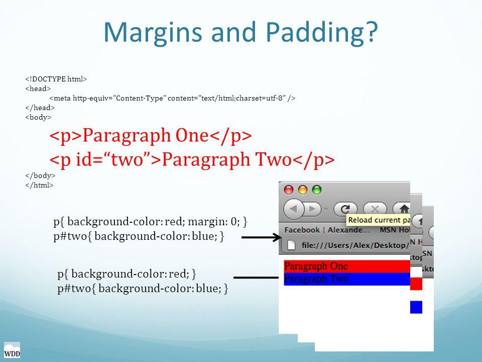 Margins and Padding.
