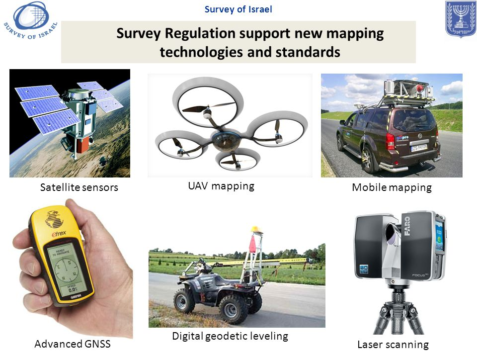 Mobile mapping Laser scanning Satellite sensors UAV mapping Advanced GNSS Digital geodetic leveling Survey Regulation support new mapping technologies