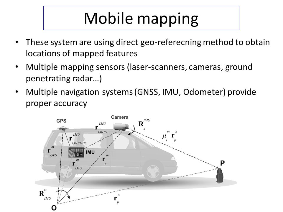 Mobile mapping These system are using direct geo-referecning method to obtain locations of mapped features Multiple mapping sensors (laser-scanners, c