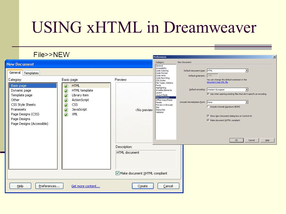 USING xHTML in Dreamweaver File>>NEW
