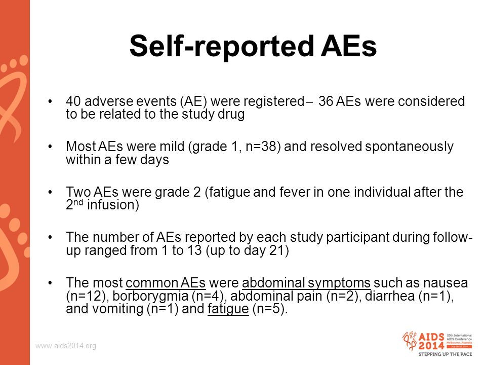 www.aids2014.org Self-reported AEs 40 adverse events (AE) were registered ̶ 36 AEs were considered to be related to the study drug Most AEs were mild (grade 1, n=38) and resolved spontaneously within a few days Two AEs were grade 2 (fatigue and fever in one individual after the 2 nd infusion) The number of AEs reported by each study participant during follow- up ranged from 1 to 13 (up to day 21) The most common AEs were abdominal symptoms such as nausea (n=12), borborygmia (n=4), abdominal pain (n=2), diarrhea (n=1), and vomiting (n=1) and fatigue (n=5).