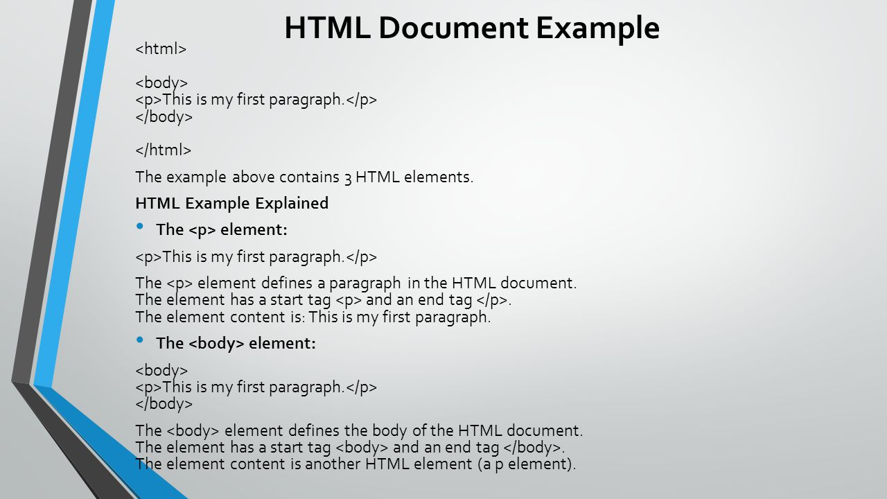 HTML Document Example This is my first paragraph. The example above contains 3 HTML elements. HTML Example Explained The element: This is my first par